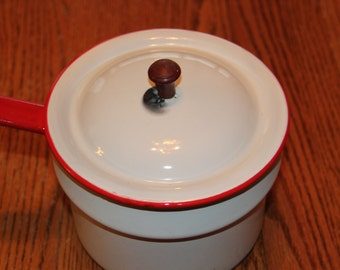 Vintage Enamelware pot, Red trimmed kettle, antique, home decor, farm and home,