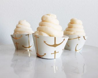 Nautical Gold Anchor Cupcake Wrappers, Gold Cupcake Wrappers, Nautical Cupcake Wrappers, Cupcake Wrappers-Set Of 6, 12,18,24+