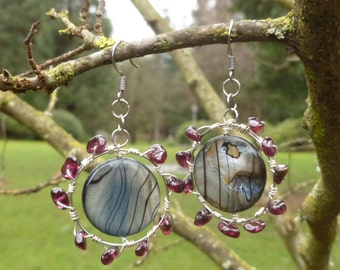 Garnet on Silver plated with shell