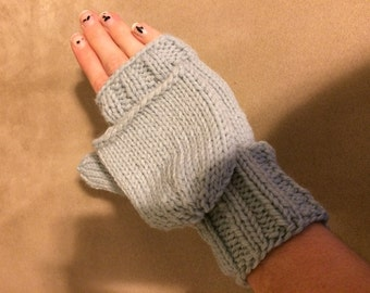 Custom knit mittens with flap
