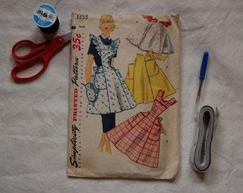 Vintage Simplicity 1358, 1950s apron pattern