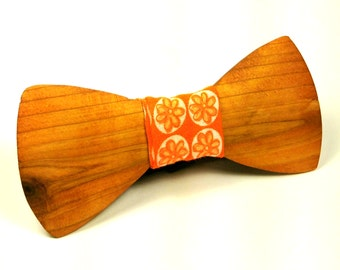 Wooden Bow Tie, Orange fabric