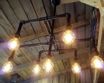 Industrial Lighting Chandelier- Iron Pipe Ceiling Light- Large 7-Bulb Edison Chandelier- Rustic Lighting- Farm Lighting- FREE SHIPPING!