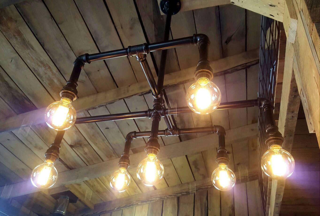 Industrial lighting chandelier iron pipe ceiling light large for Iron pipe ceiling light