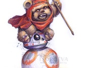 Ewok on BB-8 Star Wars Print by Nordeva