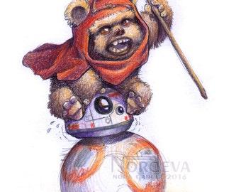 Ewok on BB-8 Star Wars Print by Nordeva