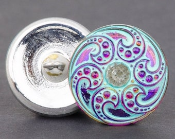 Czech Glass Button, Round Jewel Spiral Purple Iridescent with Turquoise Wash, 18mm
