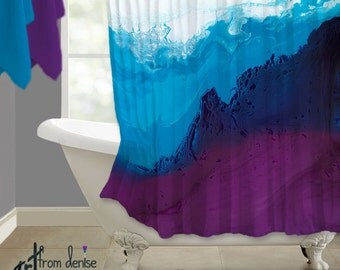 Modern Shower Curtain Blue Brown Abstract Art Teal Gray