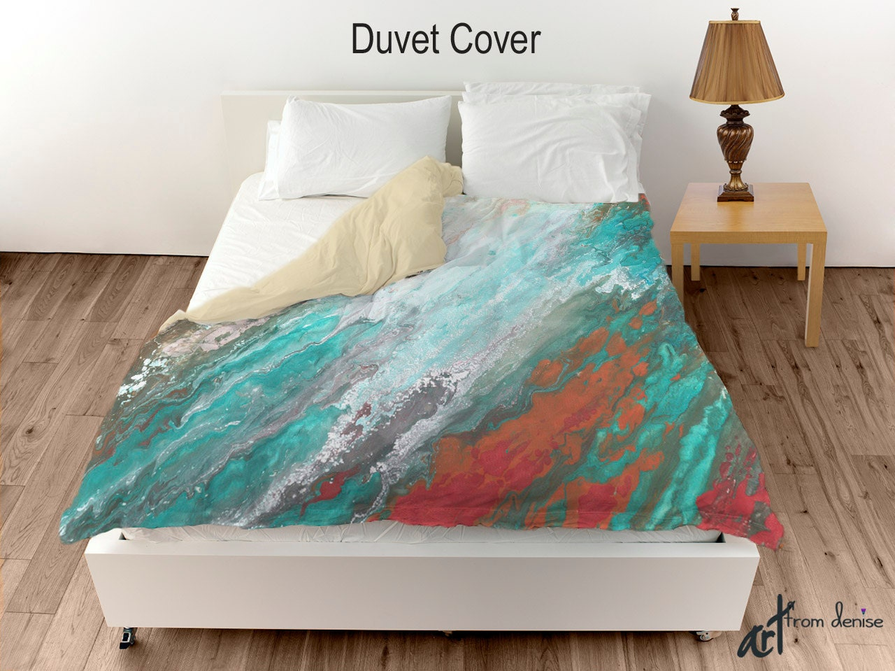 Abstract Duvet Cover Teal Gray Aqua Coral By
