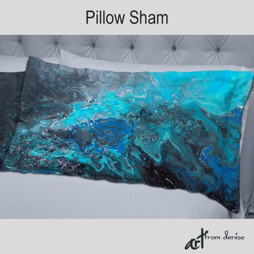 Designer Bedding Pillow Shams Turquoise Aqua Teal Blue Gray