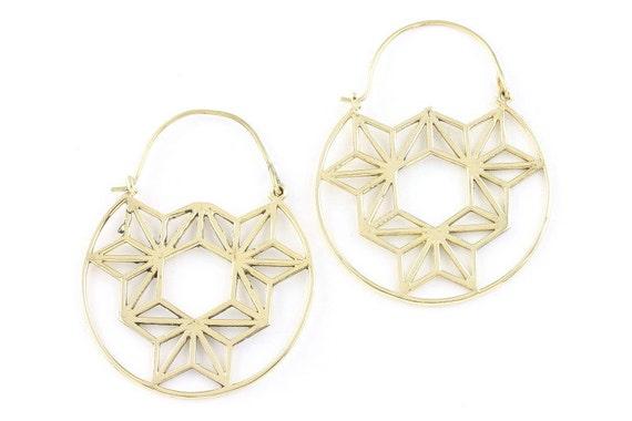Geometric Earrings, Brass or Silver, Triangle Earrings, Tribal Brass Earrings,  Festival Earrings, Gypsy Earrings, Ethnic Earrings