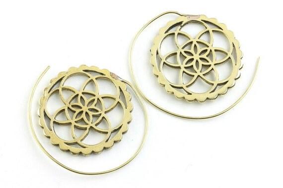 Seed of Life Earrings, Spiral Brass Earrings, Flower of Life Earrings, Gypsy Earrings, Ethnic Earrings