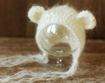 Newborn bear hat, Ivory/Cream hat, Baby bonnet, Mohair hat, Photo prop, Photography, Knitted hat, Beanie, Shower gift