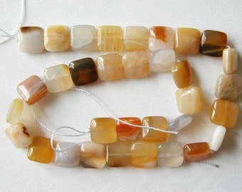 "12mm yellow botswana agate flat square beads 16"" strand 1033"