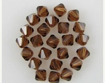 40% CLEARANCE 24 6mm Swarovski crystal bicone 5301 Smoked Topaz beads 3941