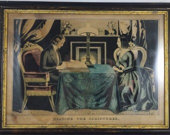 "Antique Mid 1800's Currier & Ives ""Reading The Scriptures"" Framed Lithograph"