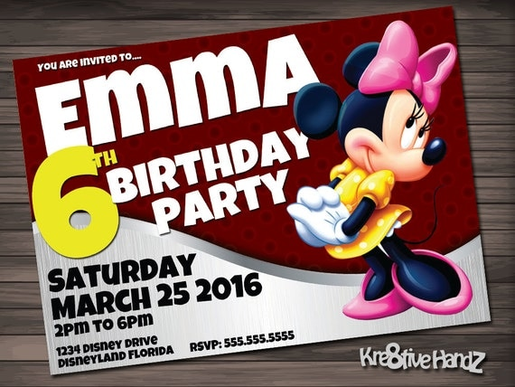 Minnie Mouse birthday invitation - personalized printable disney invite for girls birthday party - includes free thank you card