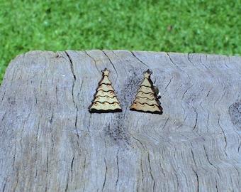 Christmas Tree Timber Earrings