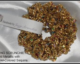 Gold Scrunchie, sequin scrunchie, metallic scrunchie, Bling scrunchie