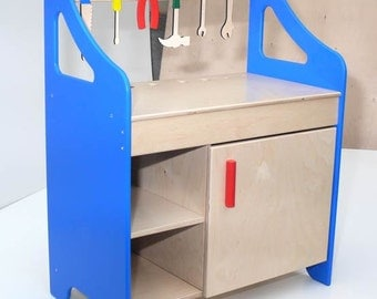 Wooden Tool Bench, Work Shop with Tools
