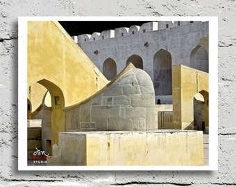 Fine Art Print, Yantra Mantra or Jantar Mantar, Historic Astronomical Observation Complex in Jaipur, India