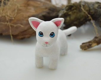 OOAK Handmade Polymer Clay White Cat Sculpture