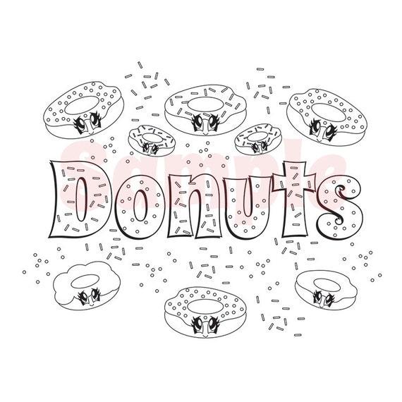 Kawaii Food Donuts File KF-donuts adult coloring by SueAtHCS