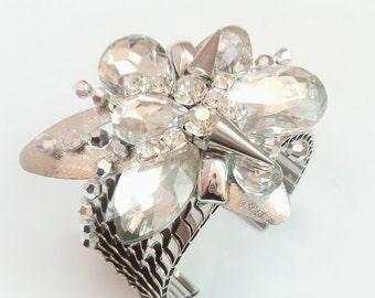 Unique Bright Silver Metal Cuff Bracelet