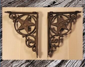 cast iron shelf brackets rustic wrought iron star design