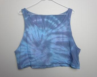 Blue/Indigo Crop Tank Cotton Top One Size
