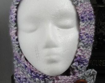 Knitted Pixie Hood, Multi/Purple/pink Item#150