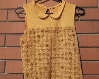 Yellow blouse with Peter pan collar