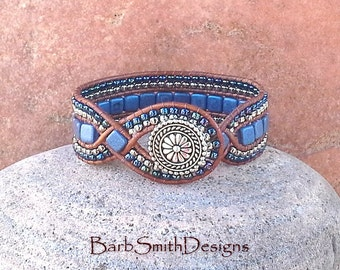 Blue Beaded Bracelet-Beaded Leather Cuff-Tile Bracelet-Blue Silver Wrap-Woven Leather Wrap-Custom Sizes-The Diamond Princess in Blue Suede