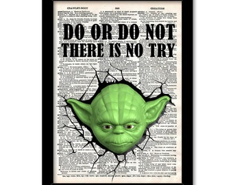 Do or do not there is no try Yoda Print, Star wars yoda quote print, Yoda Poster, yoda poster star wars print, gift for brother or son