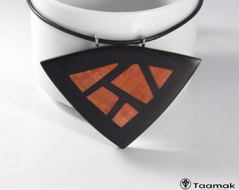 """Necklace pendant """"Mosaic"""" in ebony with ivory Rose-collar woman-wood inlay precious-made hand-Piece unique-jewelry Taamak"""