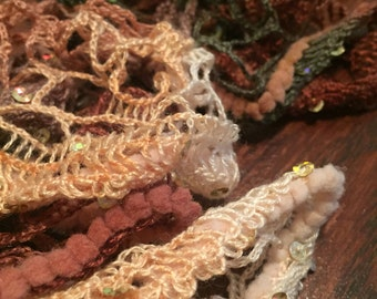 Earth Toned Sequin Ruffled Scarf