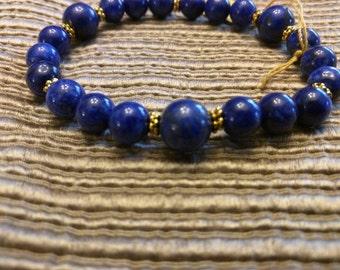 Lapis Lazuli Stretch Bracelet Antique Gold