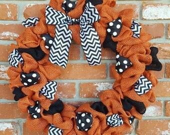 Orange and Black burlap wreath