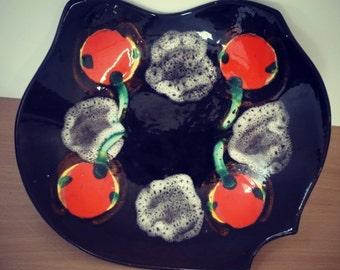 """70's ceramic dish """"Vercor"""" - large plate - large fruit bowl"""