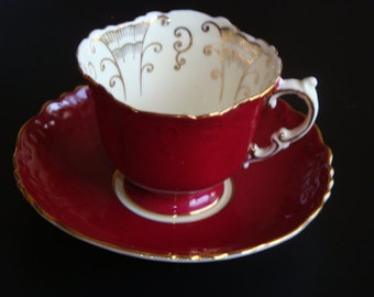 Aynsley England Maroon and Gold Cup and Saucer ~ Pattern C396/5