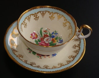 Aynsley England Palte Blue with Floral Spray Cup and Saucer