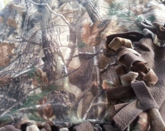 READY TO SHIP Camo Knotted Fleece Throw with Antipill Backing