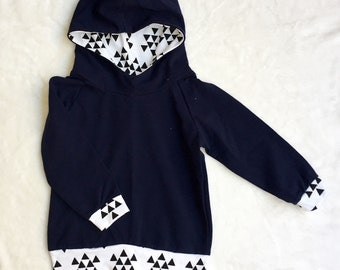 12 month Navy with Black and White Triangles Hoodie