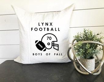 Custom Football Pillow - 18 x 18, home decor, cushion, throw pillow, gift, present, custom home, custom house, home, ball, fall, helmet
