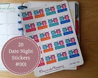 20 Date Night Planner Stickers  | Erin Condren Planner | Happy Planner | Plum Paper | #001