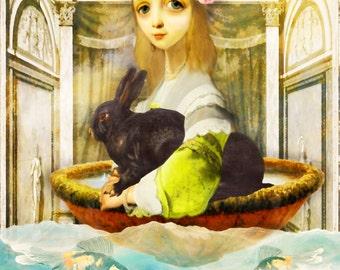 The Bunny Did It.  Digital Art Collage, Digital Print, Original Digital Art 8.5 x 11