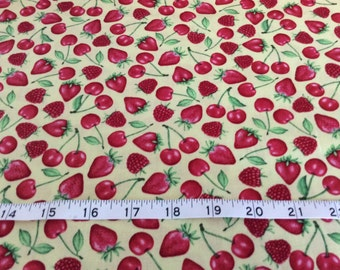 "Northcott ""Happy Hour""  Series Fabric,  by the half yard, Cherries, Strawberries"