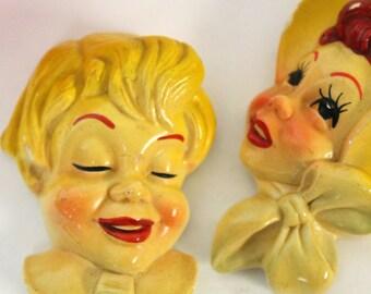 Vintage small chalkware man woman Miller studio wall plaques yellow boy girl kitschy cute retro wall art figurines set of 2 decor