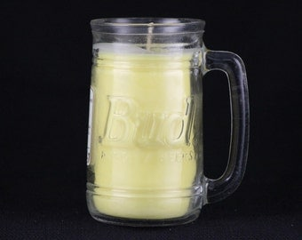 Bud beer glass with Beer scented soy candle