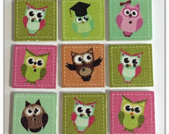 9 Owl buttons, assorted owl buttons, wood buttons, novelty buttons, scrapbooking, sewing, crafts